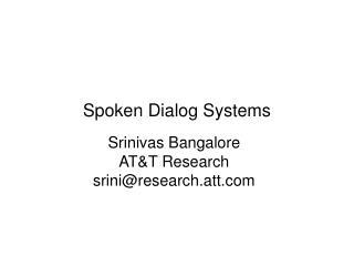 Srinivas Bangalore ATT Research sriniresearch.att