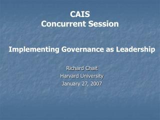 CAIS Concurrent Session