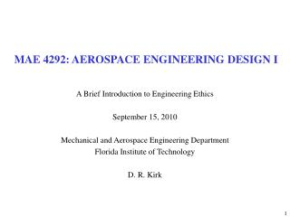MAE 4292: AEROSPACE ENGINEERING DESIGN I