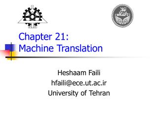 Chapter 21:  Machine Translation