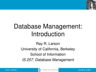 Database Management: Introduction