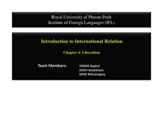 Liberalism: Cooperation  Institutions in the International System