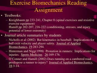 Exercise Biomechanics Reading Assignment