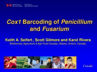 Cox1 Barcoding of Penicillium and Fusarium