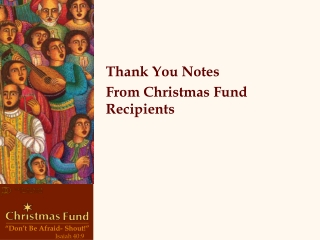 Thank You Notes  From Christmas Fund Recipients