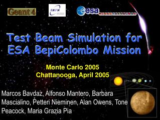 Test Beam Simulation for ESA BepiColombo Mission