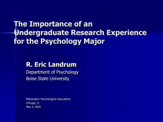 The Importance of an Undergraduate Research Experience for the Psychology Major
