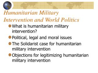 Humanitarian Military Intervention and World Politics