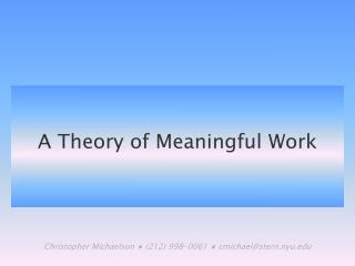 A Theory of Meaningful Work