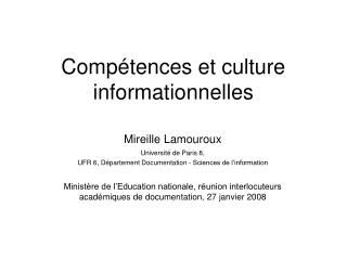 Comp tences et culture informationnelles