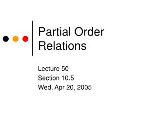 Partial Order Relations