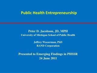 Public Health Entrepreneurship