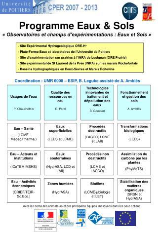 Programme Eaux  Sols   Observatoires et champs d exp rimentations : Eaux et Sols