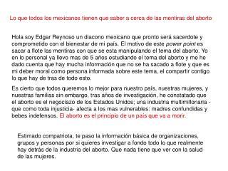 Lo que todos los mexicanos tienen que saber a cerca de las mentiras del aborto