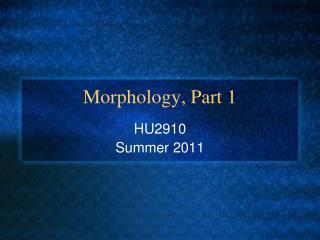 Morphology, Part 1