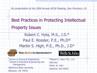 Best Practices in Protecting Intellectual Property Issues