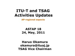 ITU-T and TSAG  Activities Updates