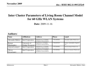 Inter Cluster Parameters of Living Room Channel Model for 60 GHz WLAN Systems