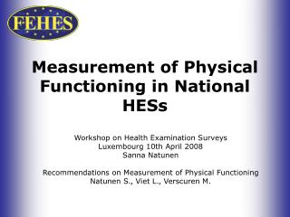 Measurement of Physical Functioning in National HESs