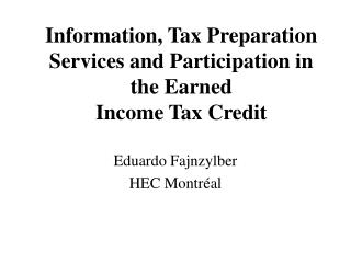 Information, Tax Preparation Services and Participation in the Earned Income Tax Credit