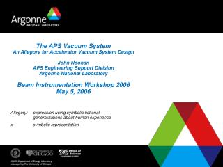The APS Vacuum System An Allegory for Accelerator Vacuum System Design  John Noonan APS Engineering Support Division Arg