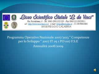 Programma Operativo Nazionale 2007