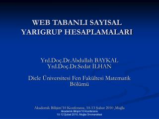 WEB TABANLI SAYISAL YARIGRUP HESAPLAMALARI