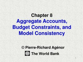 Chapter 8 Aggregate Accounts, Budget Constraints, and Model Consistency