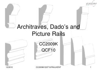 Architraves, Dado s and Picture Rails