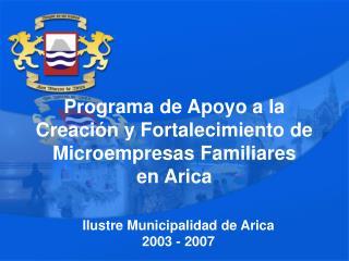 Programa de Apoyo a la Creaci n y Fortalecimiento de Microempresas Familiares en Arica