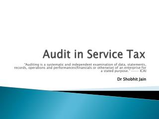Audit in Service Tax