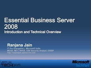 Essential Business Server 2008 Introduction and Technical Overview