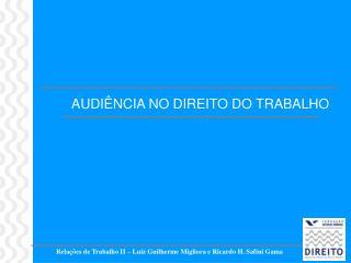 Rela  es de Trabalho II   Luiz Guilherme Migliora e Ricardo H. Safini Gama