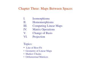 Chapter Three: Maps Between Spaces