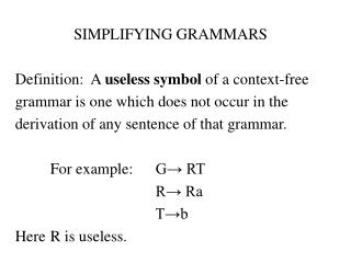 SIMPLIFYING GRAMMARS  Definition:  A useless symbol of a context-free  grammar is one which does not occur in the  deriv