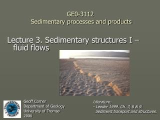 GE0-3112  Sedimentary processes and products