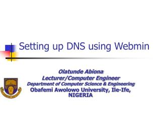Setting up DNS using Webmin