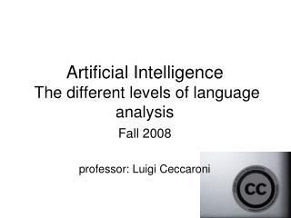 Artificial Intelligence  The different levels of language analysis