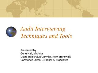 Audit Interviewing Techniques and Tools