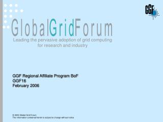 GGF Regional Affiliate Program BoF  GGF16 February 2006