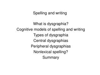 Spelling and writing