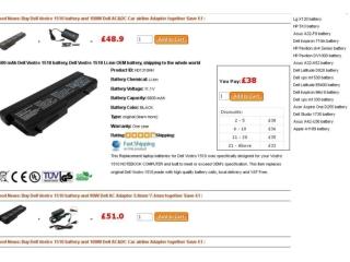 6600 mAh Dell Vostro 1310 battery, Dell Vostro 1310 Li-ion O