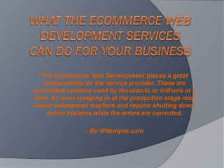 What the Ecommerce Web Development Services Can Do For Your