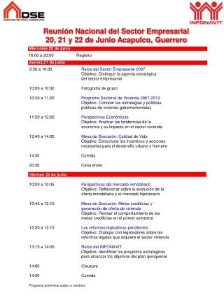 Reuni n Nacional del Sector Empresarial  20, 21 y 22 de Junio Acapulco, Guerrero