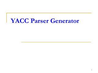 YACC Parser Generator