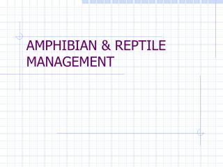 AMPHIBIAN  REPTILE MANAGEMENT