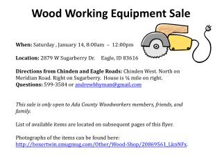 Wood Working Equipment Sale