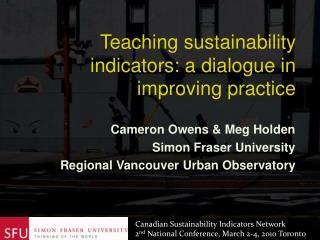 Cameron Owens  Meg Holden Simon Fraser University Regional Vancouver Urban Observatory