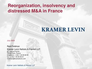 Reorganization, insolvency and distressed MA in France