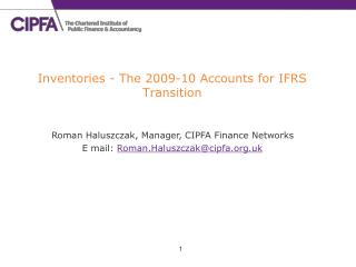 Inventories - The 2009-10 Accounts for IFRS Transition